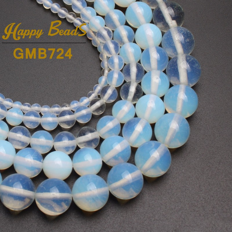 white Opal Stone beads Round Loose Spacer Beads For Jewelry Making 15.5 inches 4/6/8/10/12mm Diy Bracelet Necklack Wholesale