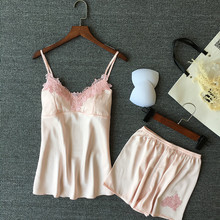 VLENATLNO Women Pajamas Satin Sleepwear Pijama Silk Home Wear Lace Home Clothing Chest Pads Spaghetti Strap Sleep Lounge Pyjama