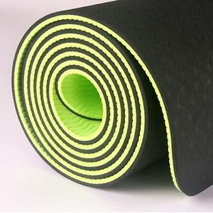 Image 3 - Estera de Yoga antideslizante de dos colores Tpe de 6Mm, estera deportiva de 183x61Cm, estera insípida para gimnasio en casa