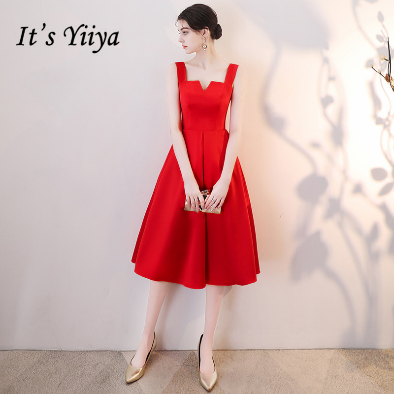 Its Yiiya Red Evening Dresses V Neck High Quality Formal Dress