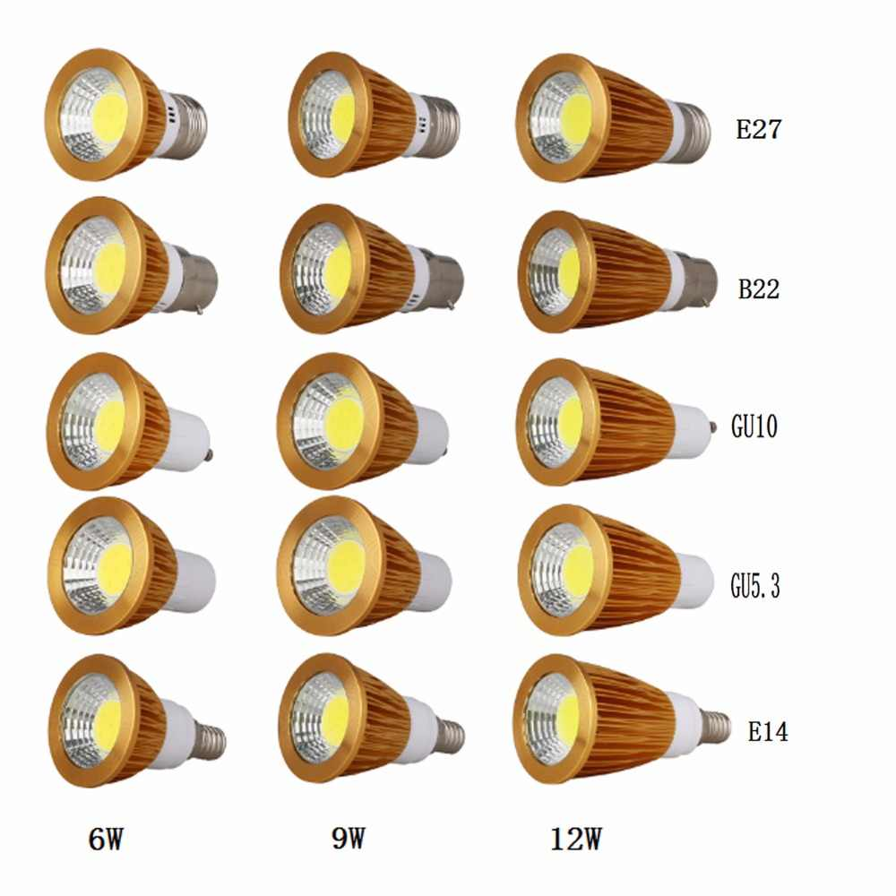 Супер яркий, 6 Вт, 9 Вт, 12 Вт, E27 B22 E14 GU10 GU5.3 затемнения светодиодный лампы AC110V 220 V светодиодный прожекторы Природа/теплый/холодный белый лампа 1 шт.