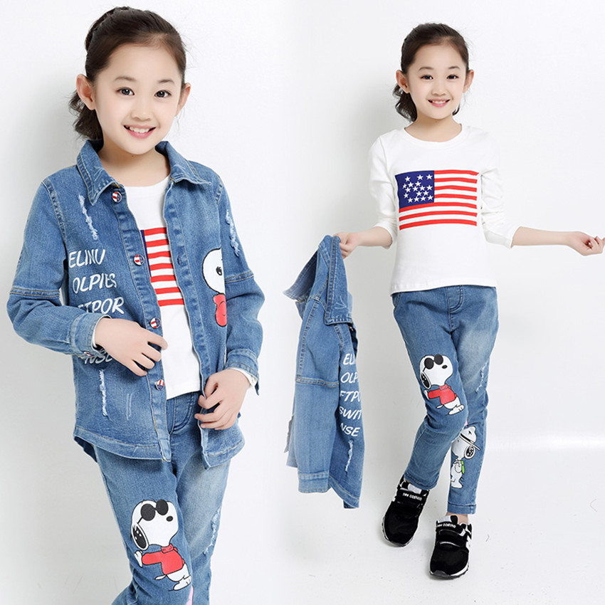 ФОТО  children's sports suit 2016 autumn and winter girls clothing suit children's denim jacket + long-sleeved t shirt + jeans 3 sets