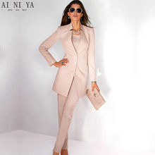 c8e6d8e40752 Jacket+Pants Womens Business Suit Light Pink Long Sleeves Female Office  Uniform Ladies Formal Trouser Suits Single Breasted