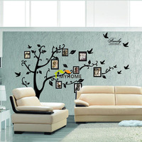 Large Black Family Photo Frames Tree Wall Stickers DIY Home Decoration Wall Decals Modern Art Murals
