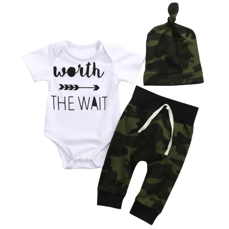 Infant Newborn Baby Boy Girls Cotton Short Sleeve Letter Romper Jumpsuit Playsuit with Camouflage Hat Pants 3PCS Clothes Set NEW