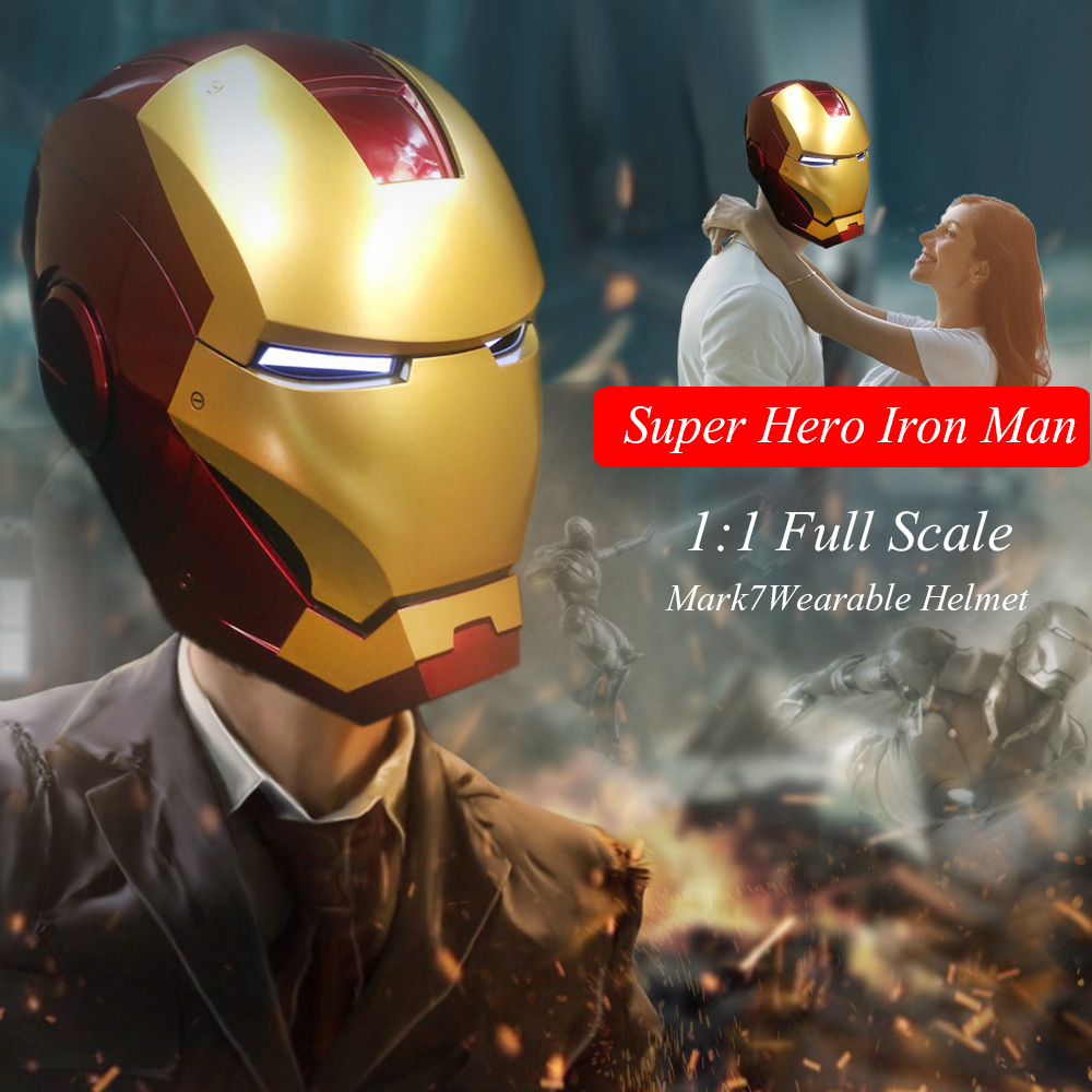 Super Hero Iron Man 1/1 Mark7 Indossabile Helmet Fondo Scala Mask Replica per il Festival Party Decoration Bambini Giocattoli di Alta Qualità