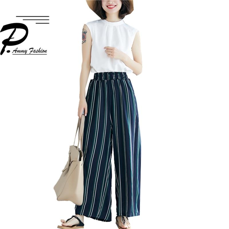 Women Vintage Striped   Wide     Leg     Pants   2019 Summer Cotton Linen High Waist Casual Thin   Pants   Loose Trousers