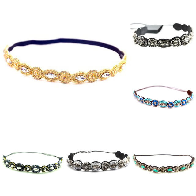 f3ac7d92f0 US $1.77 12% OFF|Vintage Bohemian Ethnic Turquoise Metal Beads Flower  Crystal Rhinestone Handmade Elastic Headband Hair Band Hair Accessories-in  ...