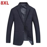Large Size business coat add fertilizer increased Big Size male casual suit jacket loose fat 8XL fat male Leisure suit