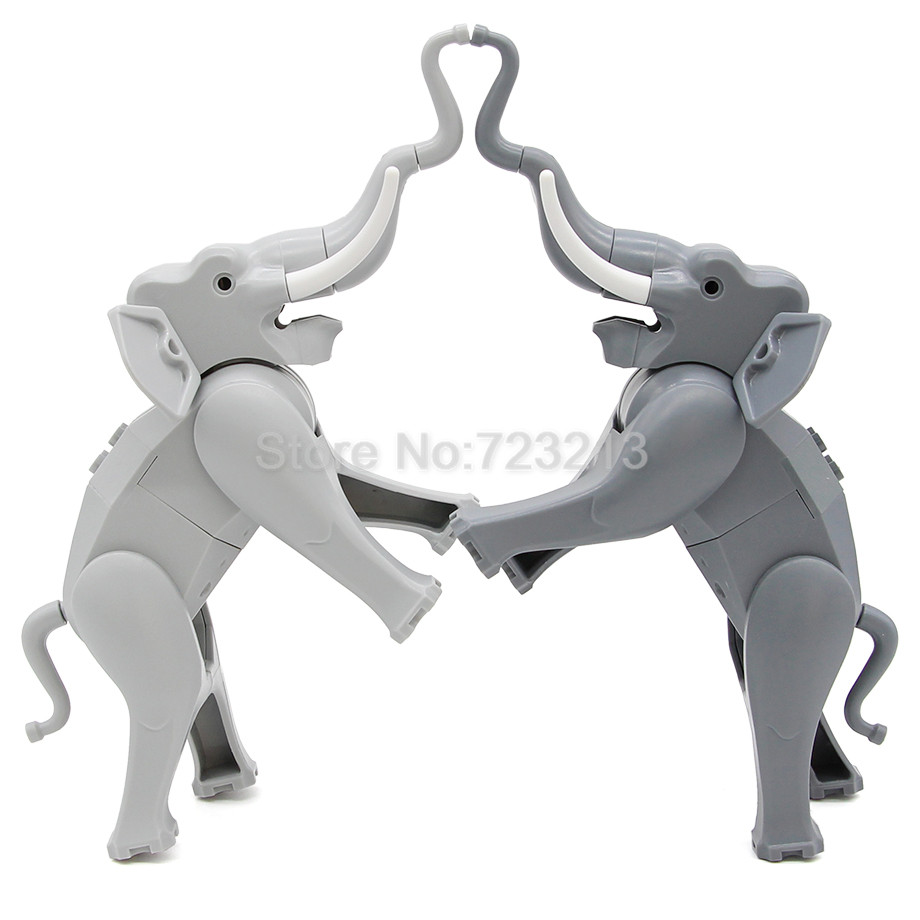 Single Sale Elephant Figure Cute Animal Building Blocks Set Model Bricks Educational Toy for Children