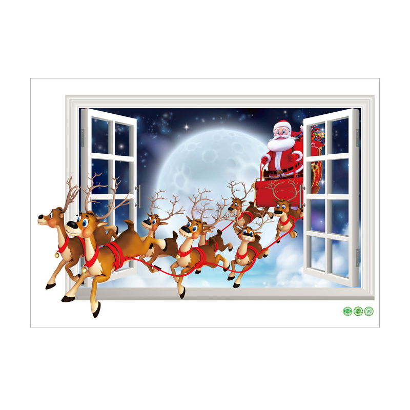 Santa claus reindeer mural christmas 3d window wall for Christmas window mural