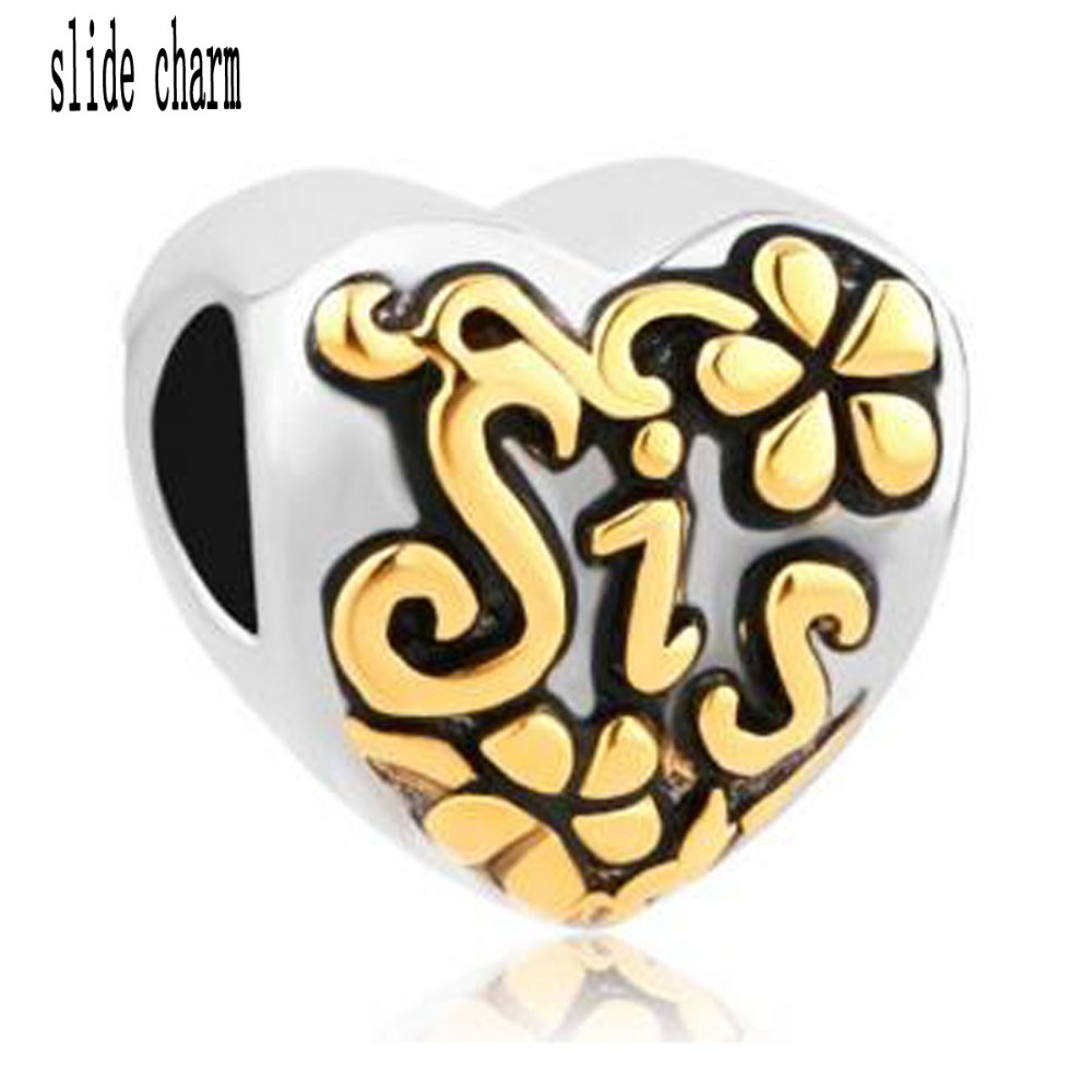 Free shipping Fit Pandora charm bracelets Heart Love Gold Sis Alloy Bead Charms For Bracelets Beads for jewelry making