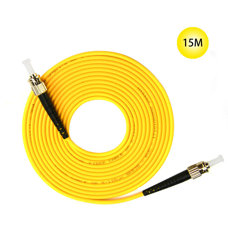 ST to ST Single-mode optical fiber patch cord 15M Jumper Cable 9 Microns UPC Polish Yellow OFNR Jacket For Long Distances