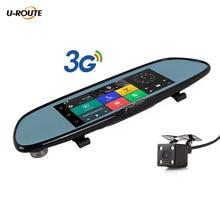 """7 """"3G Android 5 Cámara Del Coche DVR Bluetooth Dual Wifi Lente espejo retrovisor de Navegación GPS grabadora de Vídeo Cámara de la Rociada leva HD1080P"""