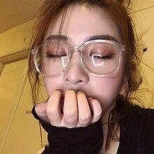 Crystal Clear Frame Square eyeglasses frame women spectacles myopia nerd optical glasses clear lens prescription Glasses