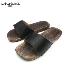 WHOHOLL Geta Summer Sandals Men Japanese Wooden Indoor Slippers Clogs Shoes Antiskid Flat Bathroom Slides