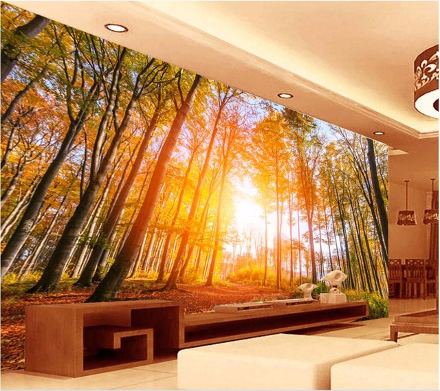 personnalis mural 3d papier peint photo automne soleil bois salon d coration peinture 3d. Black Bedroom Furniture Sets. Home Design Ideas