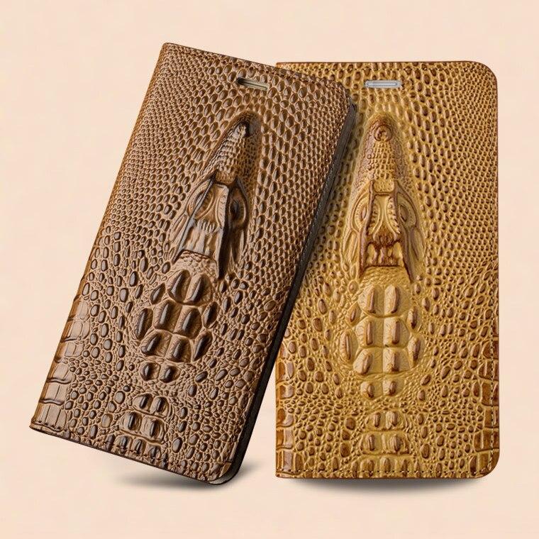 Per Huawei Honor 9 Caso Magnetico 3D Coccodrillo Cassa Del Telefono della Copertura della pelle di Vibrazione del Cuoio di Lusso Genuino Reale naturale