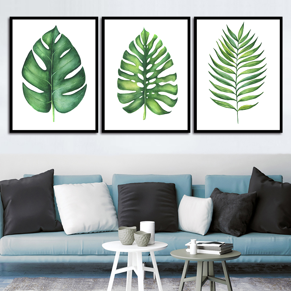 Prints Painting Nordic Home Decor Small Fresh Green Plants And Leaves Pictures Wall Art Modular Canvas Poster Modern Bed Room