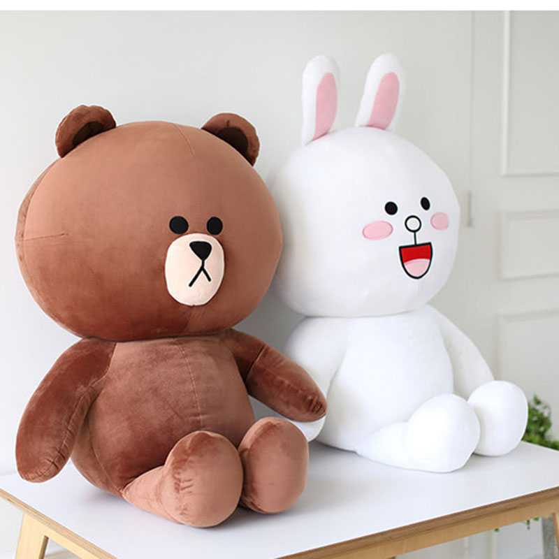 40cm 70cm Hot Sale Cute Brown Bear Plush Toy White Rabbit Stuffed Soft Doll Friend Plush Toy Kids Toy Gift For Girlfriend посуда constructive eating garden fairy plate тарелка серия волшебный сад