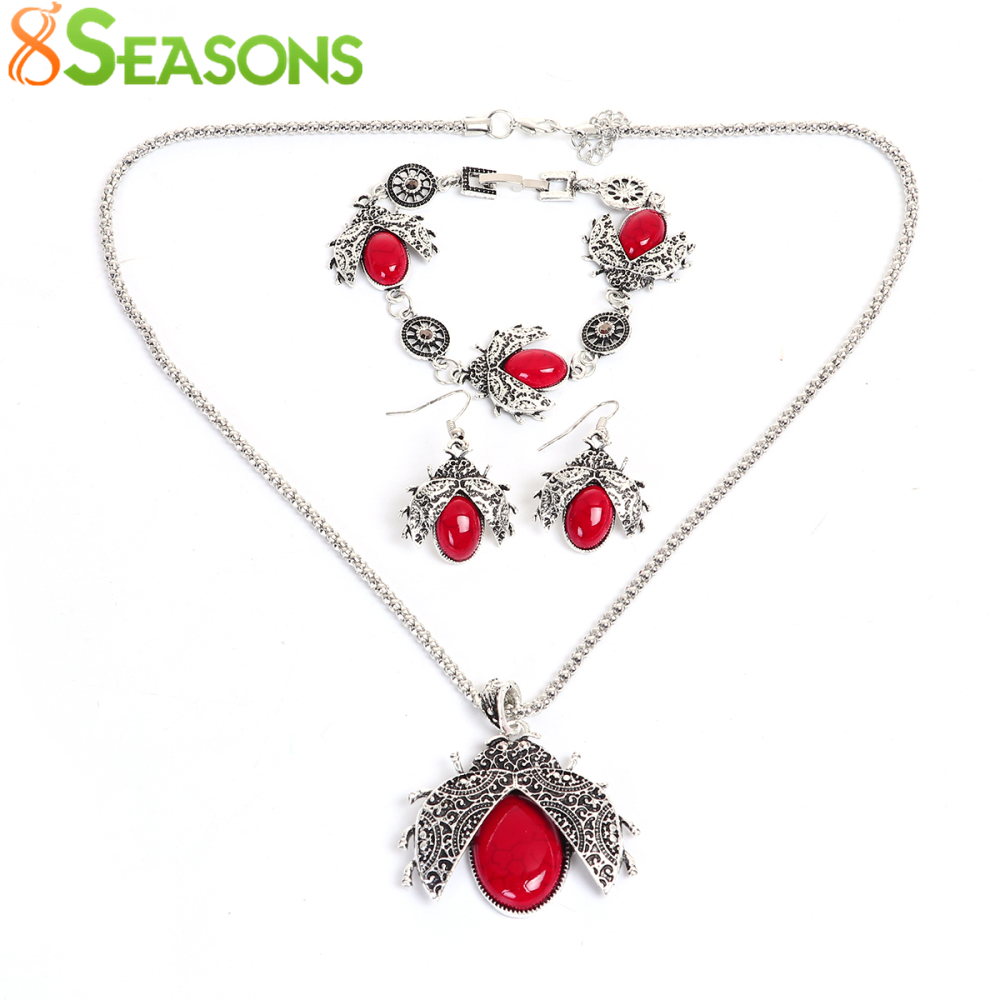 8seasons ladybug necklace earrings bracelet jewelry sets for Red black and green jewelry