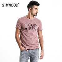 SIMWOOD Brand T Shirts Men 2018 Summer Casual Letter Print Men T Shirts Slim Fit Plus