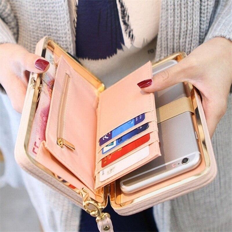 2019 nova carteira feminina de couro longo bolsa ferrolho bolsas com alça titular do cartão do telefone grande capacidade senhoras carteiras embreagem