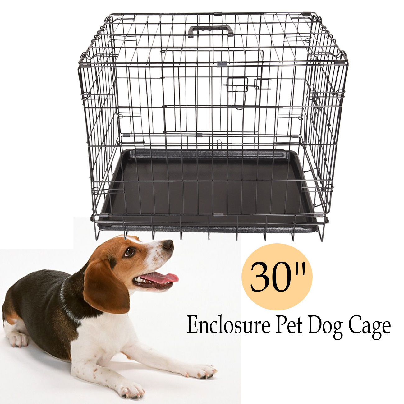 Dog Cage Crates Puppy Small Medium Large Pet Carrier Training Folding Metal Cage pet carrier bag for cat dog medium size brown