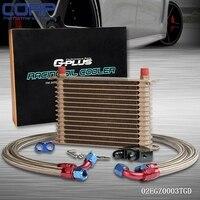 Universal 15 Row JDM Engine Oil Cooler Kit + Sandwich Plate fit for LS1 LS2 LS3