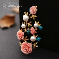 GLSEEVO Natural Fresh Water Pearl Brooch Pin Coral Flower Brooches For Women Birthday Gifts Dual Use Luxury Fine Jewelry GO0220
