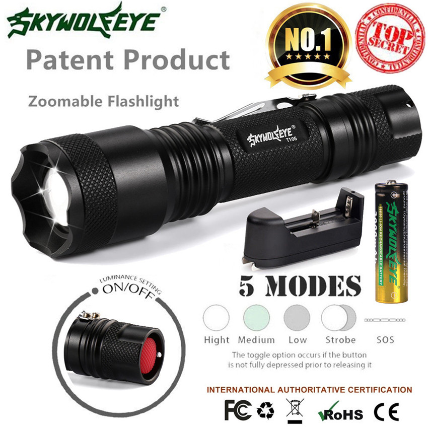 2x Bicycle Light 15000Lm SkyWolfEye Tactical Aluminum Flashlight T6 5 Modes Zoomable Lights+Battery Lamp Torch Waterproof M20 3800 lumens cree xm l t6 5 modes led tactical flashlight torch waterproof lamp torch hunting flash light lantern for camping z93