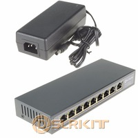 DSLRKIT 9 Ports 8 PoE Injector Power Over Ethernet Switch 48V 120W