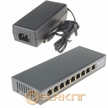 DSLRKIT 9 Портов 8 PoE Инжектор Power Over Ethernet Коммутатор 48 В 120 Вт