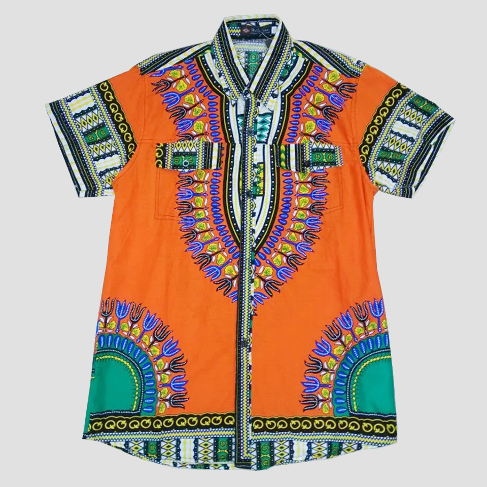 new mens dashiki shirtorange african print mens shirt