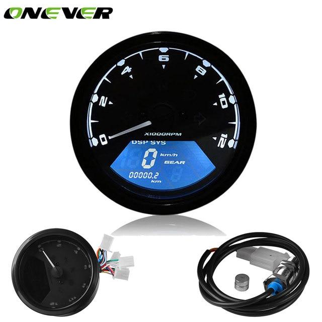 US $29 86 31% OFF|Universal Motorcycle Motorbike Speedometer Digital LCD  Backlight Odometer Tachometer Gauge 12000 RPM Alarm Fungsi untuk Honda di