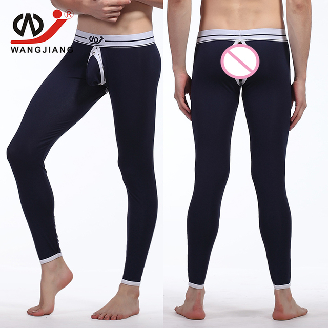 WJ Hollow Gay Cargo Pants Man Qiuku Homewear Men Compression Pants Sexy Compression Tights Modal Gay Tights Brand Clothing