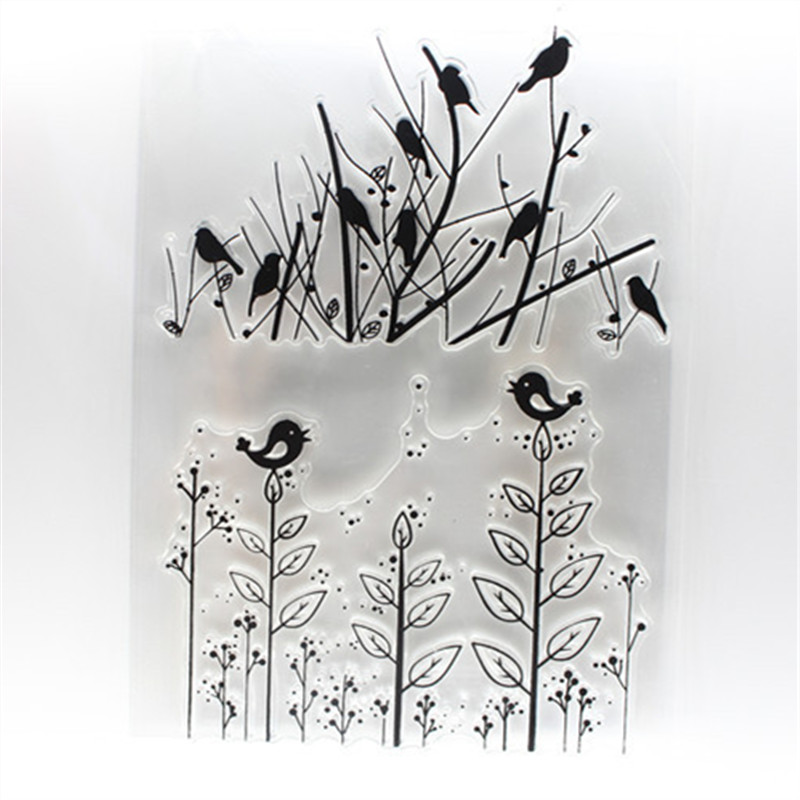 Tree and Lively Birds Transparent Clear Stamp DIY Silicone Seals Scrapbooking/Card Making/Photo Album Decoration loving heart and ballon transparent clear stamp diy silicone seals scrapbooking card making photo album craft cl 285
