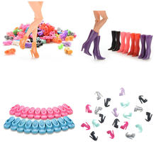 Randomly Picked 5/10/12 Pairs Colorful Assorted Fashion Doll Shoes Heels Sandals For girl Dolls Accessories Outfit Dress(China)