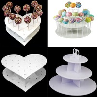 3 Tier 42 Holes Plastics Cake Pop Lollipop Cupcake Display Stand Wedding Party Decor Candy Stand