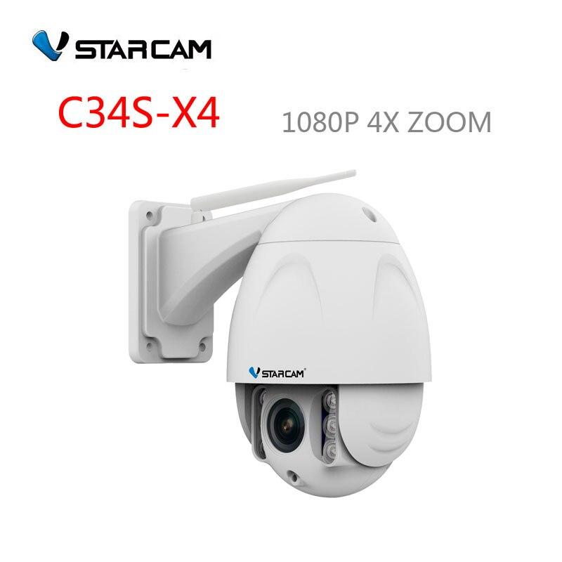 VStarcam  PTZ Dome IP Camera Wifi Outdoor 1080P HD 4X Zoom 3.3-12mm Len, Security Video Network Surveillance,sn:C34S-X4 vstarcam c7833wip x4 ptz 4x zoom outdoor ir dome 2 8 12mm cctv security ip camera wifi wireless hd 720p