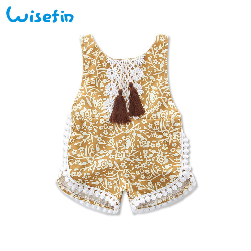 Wisefin Newborn Baby Girl Rompers Summer Lace Tassel Infant Outfit Jumpsuit For Girl Sleeveless Floral Toddler Girl Romper 2018