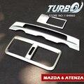 3 Pçs/set Matte Chrome ABS Saída de Ar Central Console Foglight Tampa do Interruptor Adesivos Para 2014 2015 2016 Mazda 6 ATENZA