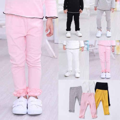 Bahar Sonbahar Kızlar Katı Pantolon Rahat Uzun Pantolon Yürümeye Başlayan Çocuk Giysileri Pamuk Dipleri 1-5Y