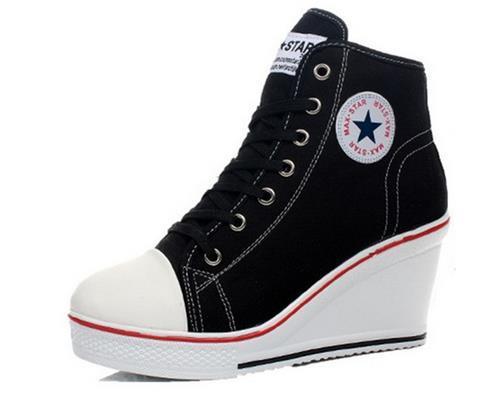El envío libre 2015 cuñas insignia alta cordón zapatos con alzas ocasionales femeninos zapatos de lona del top del alto botas de cuña de las mujeres zapatos casuales