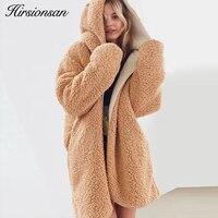 Hirsionsan Both Sides Wear WinterJacket Women Oversized Faux Lambswool Fur Coat Thicken Hairly Soft Outwear Female