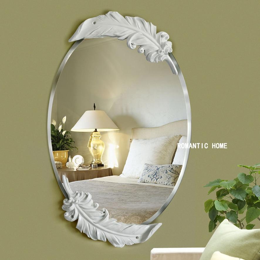 Free shipping The European waterproof white feather mirror retro fashion decorative  wall mirror home decoration. Popular Decorative Oval Mirrors Buy Cheap Decorative Oval Mirrors