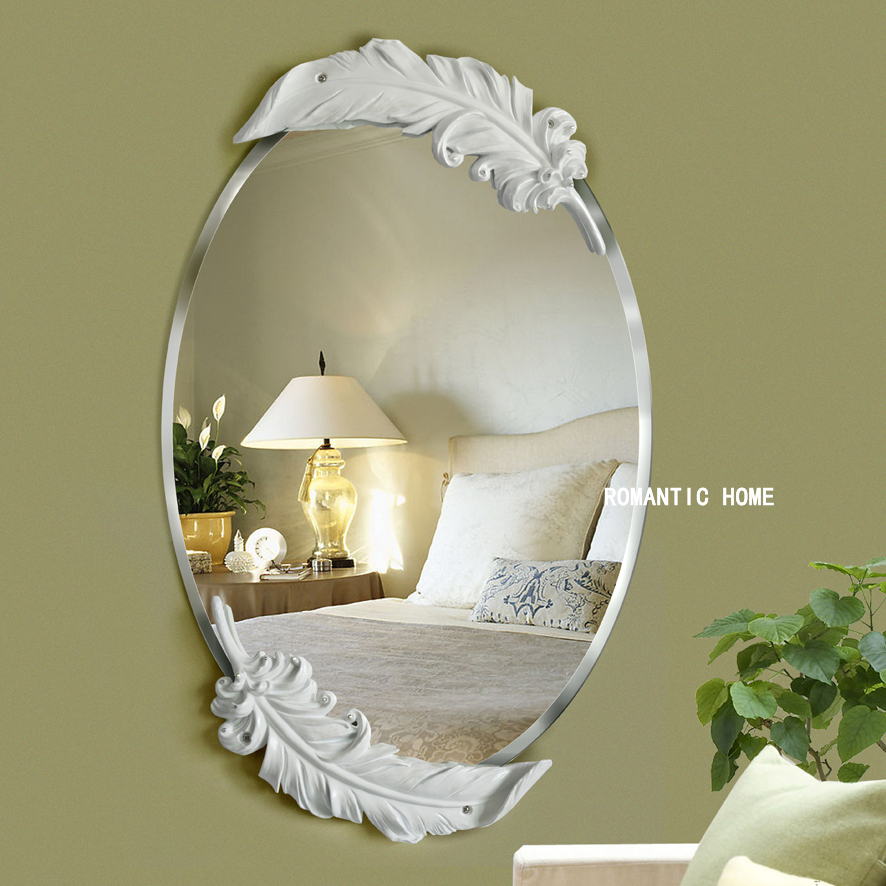 Free Shipping The European Waterproof White Feather Mirror