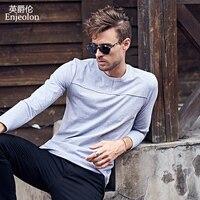 Enjeolon Top Brand 2017 New Casual T Shirts Man Long Full Sleeve Cotton Solid Base ClothingTops