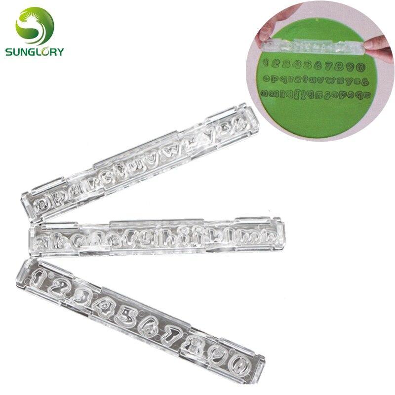 3PCS abeceda fondant fréza formy plastové abeceda dopisy cookie forma číslo cookie fréza zdobení nástroje pro pečení dorty  t