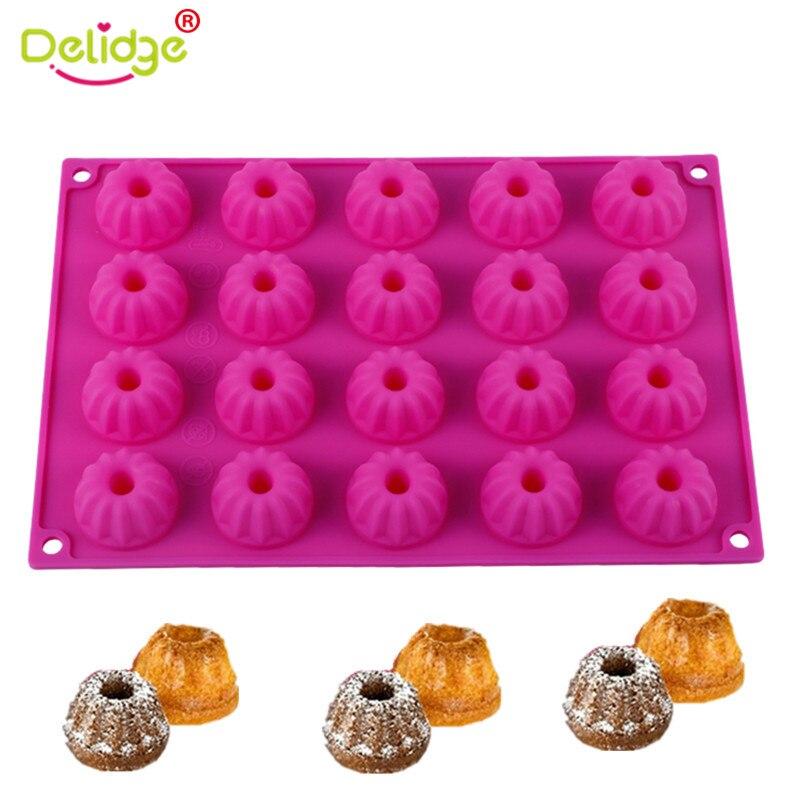 1 шт. 20 силиконовых форм для шоколада Delidge, 3D мини-шифоновая форма для пудинга, помадки, торта, инструменты для выпечки DIY